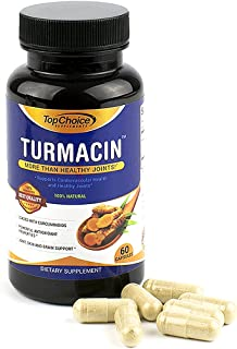 Top Choice Turmeric Supplement Pills - Turmacin 1000mg - Anti Inflammatory Vegetable Capsules - Formula Enhanced for Maximum Joint Health and Pain Relief - NON-GMO, Vegan and Gluten-Free