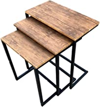 Coffee and tea service table set - wood surface and metal legs