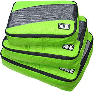 Waterproof Travel Storage Bags Luggage Organizer Pouch Packing Cube Clothing Sorting Packages Pack of 3Pcs Green