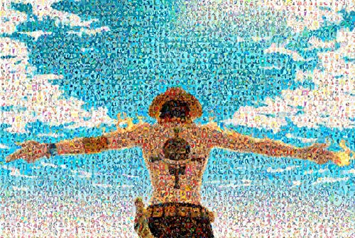 Wallpaper M Rompecabezas de Madera Grande y difícil - Mosaico de Piezas Luffy Smiley Juguete de Madera de una Pieza Piezas Verdes Fluorescentes One Piece 1000ps