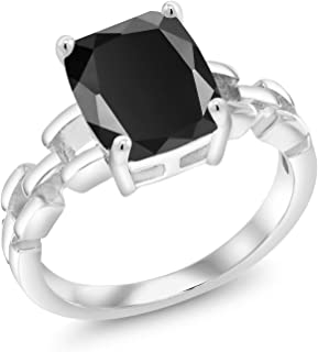 925 Sterling Silver Solitaire Black Onyx Link Style Women Ring (2.73 Ct Cushion Cut, Available in size 5, 6, 7, 8, 9)