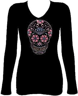 Sugar Skull Pink & Blue Day of Dead Rhinestone Womens V Neck Long Sleeve Tee Shirt