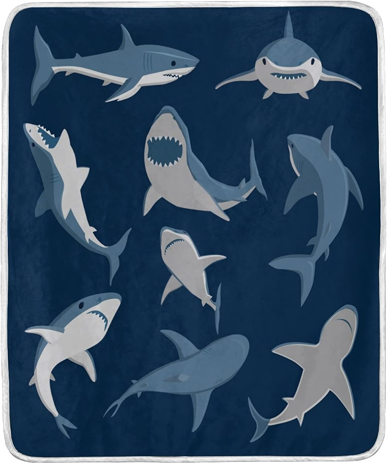 ALAZA Home Decor Cartoon Shark Fish bluee Blanket Soft Warm Blankets for Bed Couch Sofa Lightweight Travelling Camping 60 x 50 inch Throw Size for Kids Boys Women