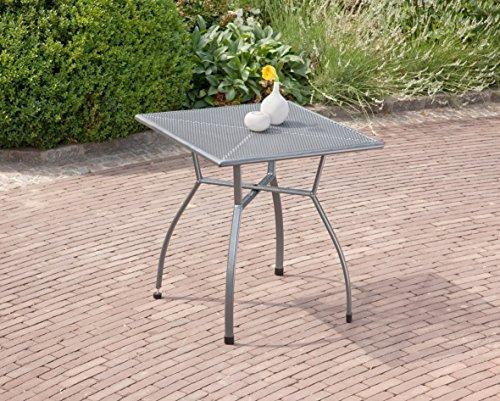 greemotion Gartentisch Toulouse eckig, quadratischer Tisch aus kunststoffummanteltem Stahl, Esstisch mit Niveauregulierung, eisengrau, 70 x 70 x 72 cm - 4