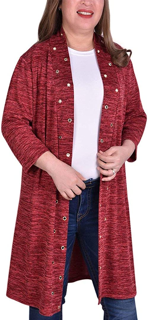 NY Collection Plus Size 3/4 Sleeve Cardigan with Grommets