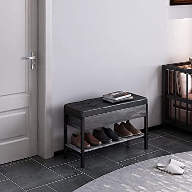 QEEIG Shoe Storage Bench with Cushion Gray Shoes Rack for Entryway End of Bed Window Seat Living Room Bedroom Industrial Rust