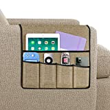 Joywell Armchair Caddy, Remote Control Holder for Recliner Couch, Sofa Armrest Organizer with 5 Pockets for Magazine, Books, Cell Phone, iPad, Khaki