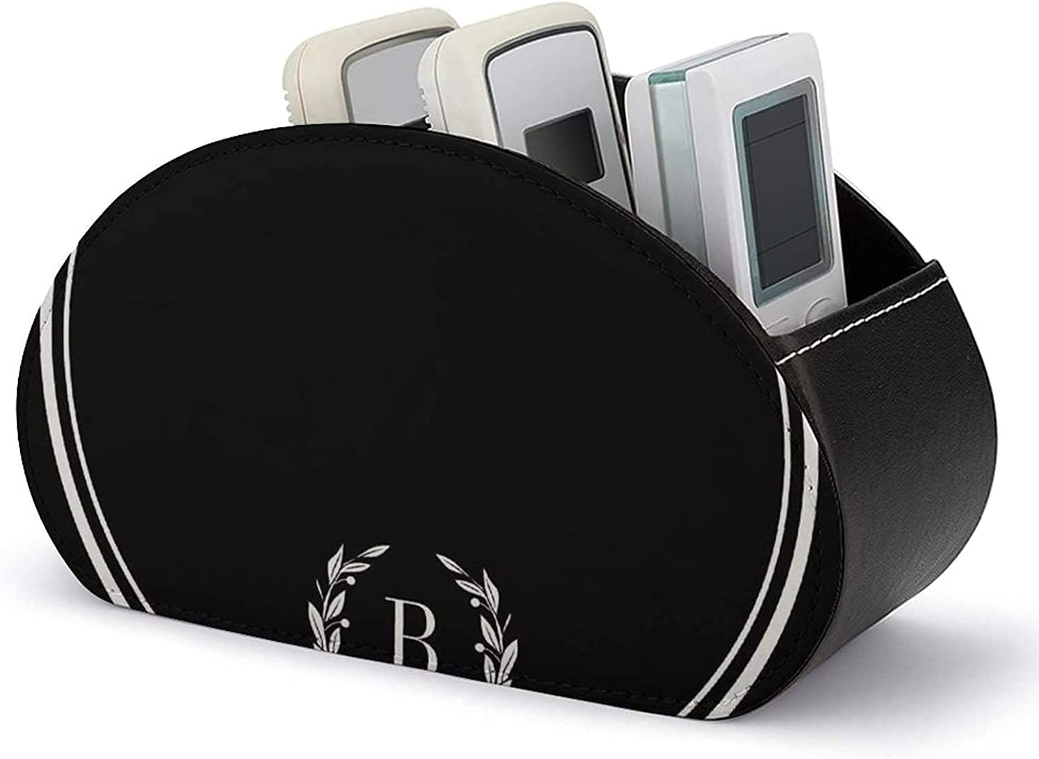 5 Compartments Remote Control Gorgeous Holder Leather an Black Recommendation Stripes PU