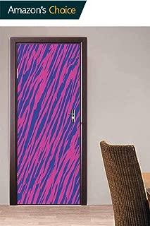 3D Door Sticker, 80s Style Grunge Door Stickers Wall Decals Mural Wallpaper DIY Art Home Decor Poster Decoration, 30.3W x 78.7H Inches