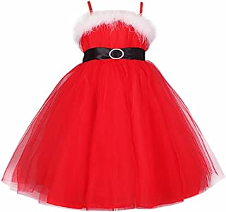 FEESHOW Girls' Spaghetti Straps Christmas Picture Tulle Party Dress Santa Costumes