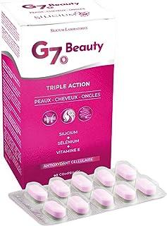 SILICIUM G7 BEAUTY   Vitaminas Para Piel, Crecimiento del Cabello y Endurecedor de Uñas   Multivitaminas Con Vitamina E, Silicio Orgánico y Selenio   Para Mujer y Hombre