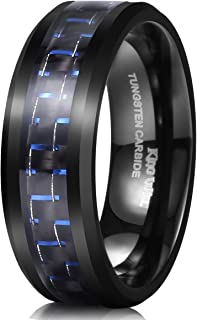 King Will Gentleman 8mm Black Tungsten Carbide Ring Black/Red/Green/Blue Carbon Fiber Inlay Polished Finish Edges Comfort Fit