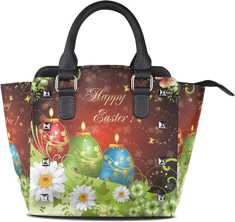 Leather colorful Eggs Happy Easter Rivet Handbags Tote Bag Shoulder Satchel for Women Girls
