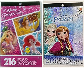 Sticker Set; Disney Princess Stickers Pad (4 Sheets) & Frozen Fever Earring Stickers (24 Pairs)