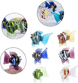 Crystalsuncatcher Miniature Hand Blown Tropical Fish Figurine Art Glass Sea Animals Collection,Set of 6
