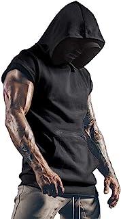 Uomo T-Shirts Palestre per Uomini Fitness Muscolo Maglia Felpa con Cappuccio Senza Maniche Canottiera Maglietta Superiore ...