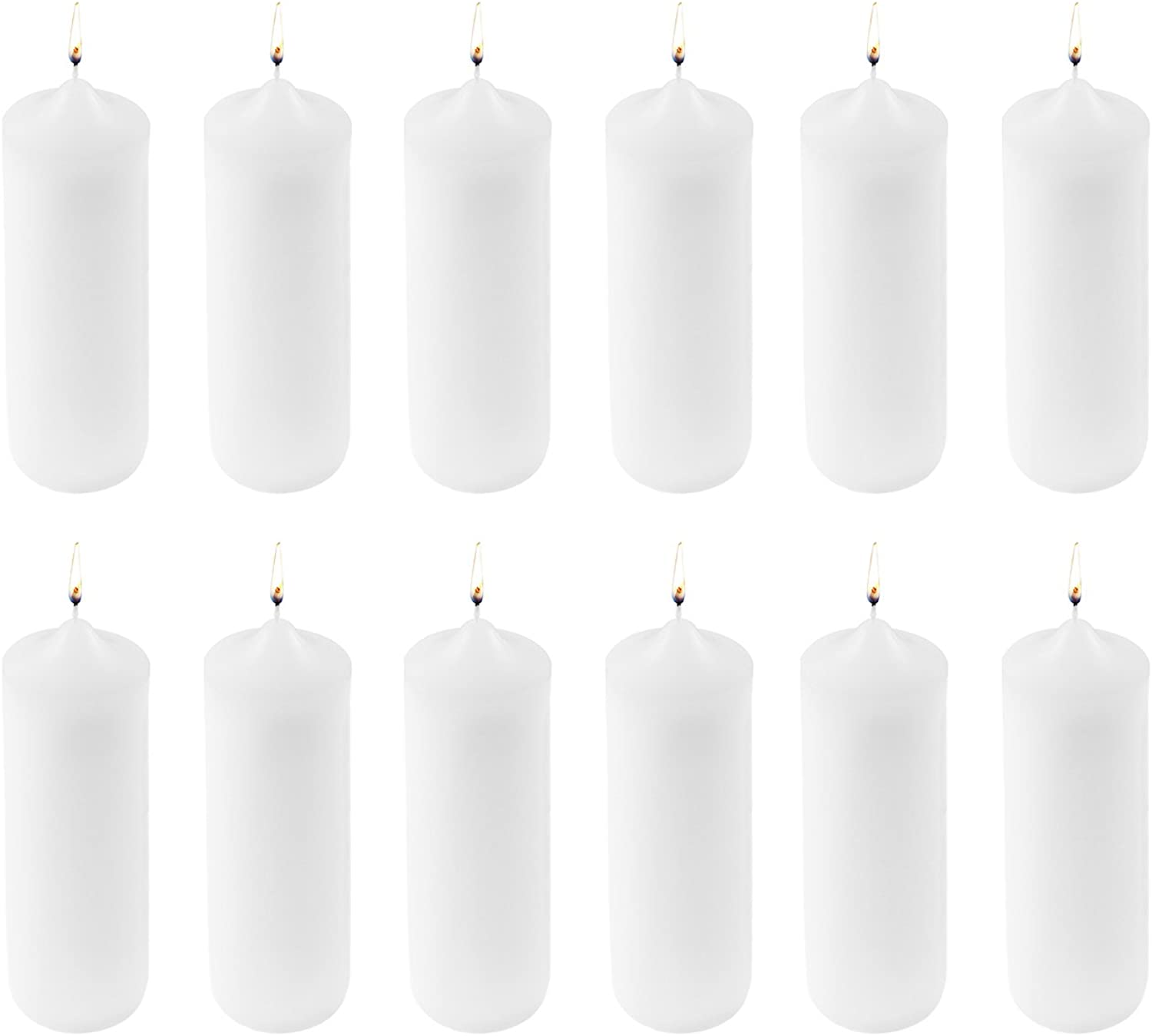 Super Z Outlet 3 x 9 Unscented Pillar Candles for Home Decoration, Weddings, Relaxation, Spa, Smokeless Cotton Wick. (12 Pack) (White)