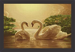Mad Masters Canvas UV Textured Print Beautiful Golden Duck Painting Wall Decorative Items with Frame (19 x 13 inch)