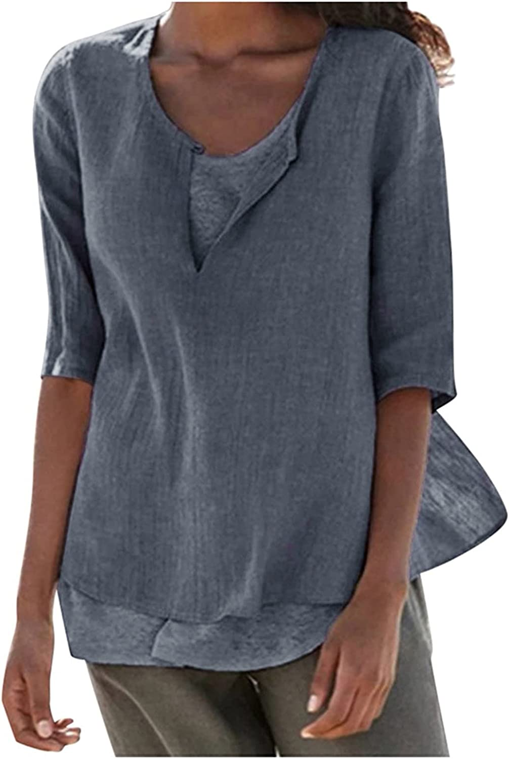 Limited price Women Summer Cotton Linen Tshirt Tops Blo Trendy Fit Solid NEW before selling ☆ Loose