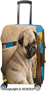 SCOCICI Adorable Puppy Photography with Sad Dog and Wildflowers on a Park Bench Luggage Case Protective Baggage Suitcase Cover for 19