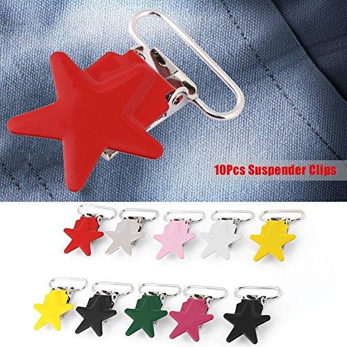 10 stuks metalen bretelclips, 25 mm kleurrijke vijfpuntige ster bretels fopspeen houder Bib Clip Straps gesp DIY maken leveringen
