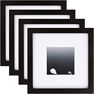 Egofine 8x8 Picture Frames 4 PCS - for Pictures 4x4 with Mat Made of Solid Wood for Table Top Display and Wall Mounting Photo Frame Black