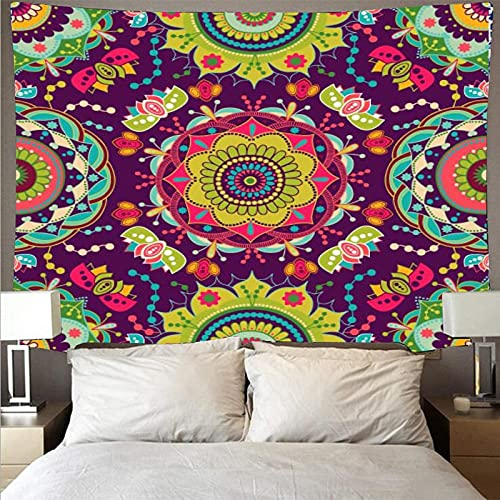 Tapiz de estilo bohemio retro arte mandala tapiz psicodélico colgante de pared toalla de playa manta tela colgante A1 73x95cm