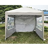 WEIBO Waterproof 2.5x2.5m Pop Up Gazebo Party Tent BBQ Canopy Outdoor Awning with Side Walls, Beige