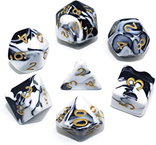 HD DND Dice Set RPG Polyhedral Dice Fit Dungeons and Dragons(D&D) Pathfinder (Black&White)