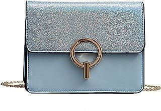 Wultia - New Famous Brand Women Messenger Bags Black Small Chain Crossbody Bags Female Luxury Shoulder Bag Pearl Handbag Red White #G8 Blue