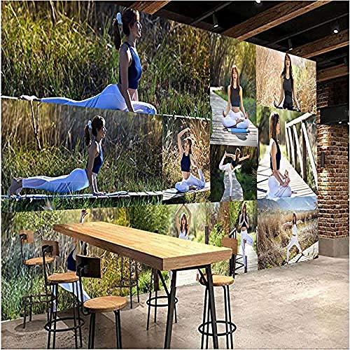 Outdoor Yoga Abstrakte Zeichenserie HD-Druck Kunst Wandmalerei Poster Großes Seidenwandbild für Kleidung Nagel wandpapier fototapete 3d effekt tapete tapeten Wohnzimmer Schlafzimmer-250cm×170cm