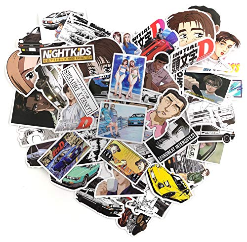 DecToik Initial D Anime Stickers[50pcs],Waterproof Decals Anime Vinyl Stickers for Kids Teens Adults for Laptop Water Bottle Skateboard Car Cup Computer Guitar Luggage Bicycle Bumper