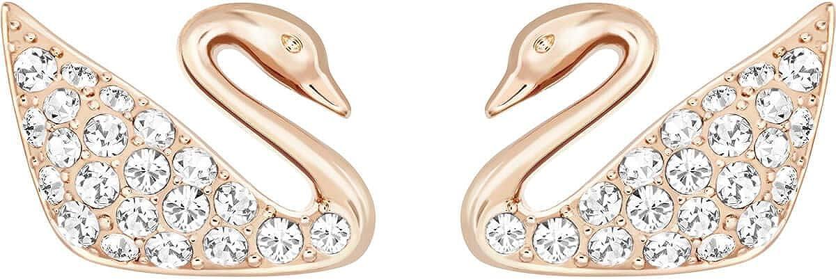 Swarovski Swan Mini Pierced Earrings, Rose Gold-Plated