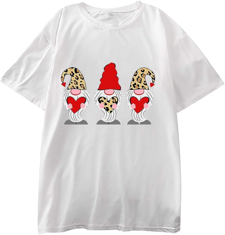 Women's Valentine's Day Shirt Printed Short Sleeve Loose Cute Top Crewneck Sweatshirts