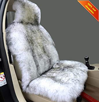 Sisha Winter Warm Authentic Australia Sheepskin Car Seat Cover Luxury Long Wool Front Seat Cover Fits Most Car, Truck, SUV, or Van (Grey Tips): image