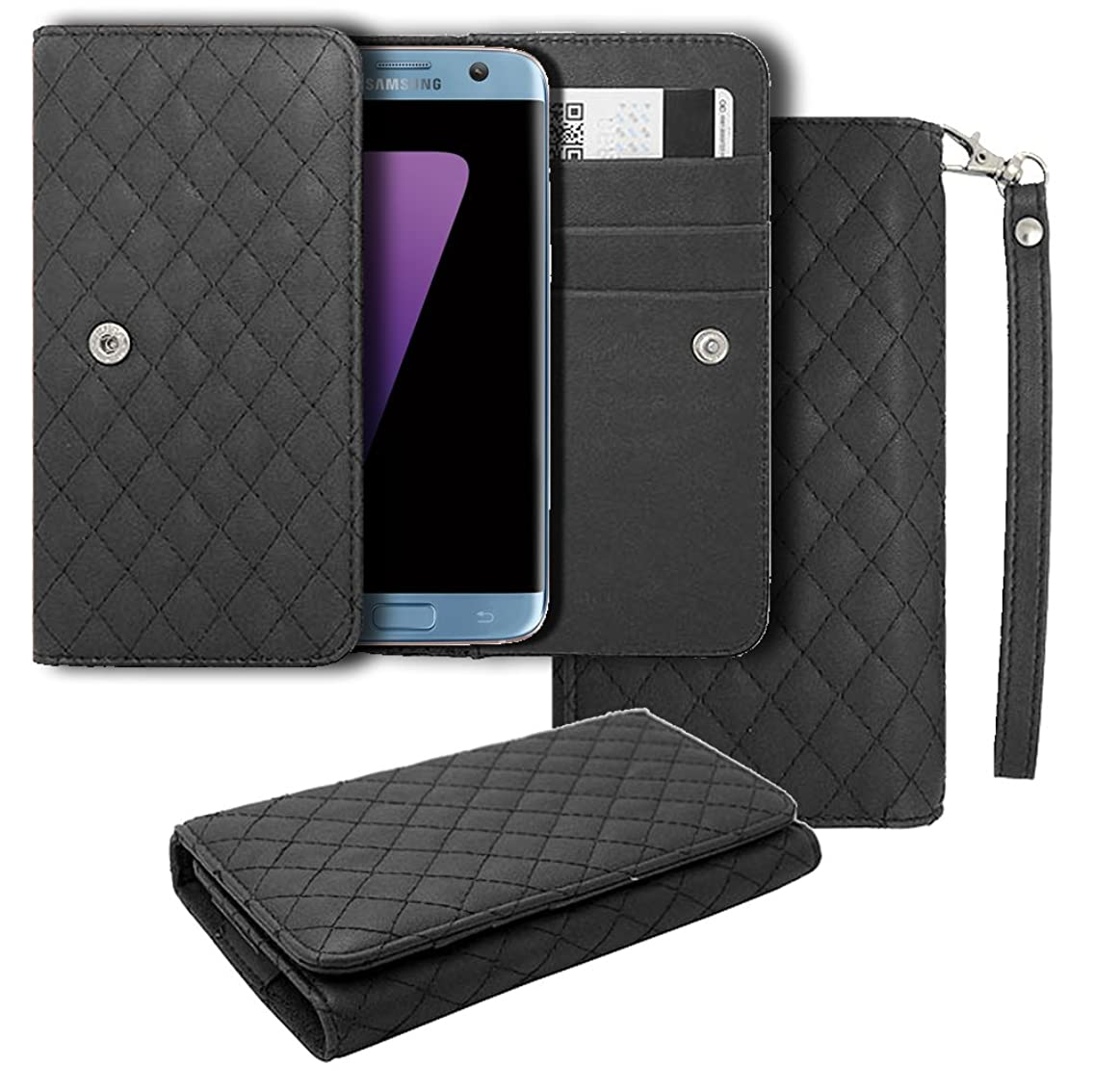 BLU S1 Leather Pouch, HJ Power[TM] For BLU [S1] (Unlocked)--CH5 Smart Phone Universal PU Leather Checker Style Wallet Pouch Black