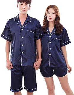 (レモンツリーセブン) Lemon tree7 ペアパジャマ 前開き カップル ペアルック 半袖 シルクパジャマ カップル パジャマ お揃い 半袖 夏用 パジャマ ペア パジャマ 男女2着セット ブルー