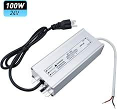 LightingWill Waterproof IP67 LED Power Supply Driver Transformer 100W 110V AC to 24V DC Low Voltage Output with 3-Prong Plug 3.3 Feet Cable for Outdoor Use