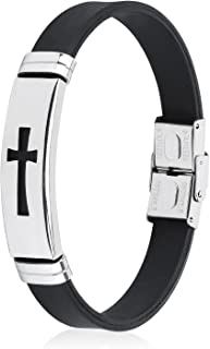 Cross Bracelets for Men, Stainless Steel Religious Bracelet with Silicone and Leather for Couples Boys and Man