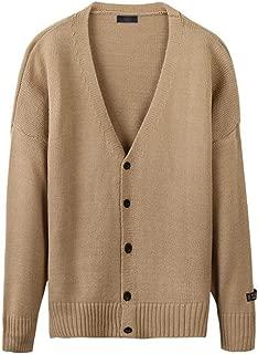 Sweater Jacket Men's Clothing, Winter Solid Color V-Neck Knit Cardigan Jacket, Men's Fashion Warm Long-Sleeved Sweater Knit Jacket, Anti-Pilling/not Shrinking (Color : Beige, Size : XXXL)