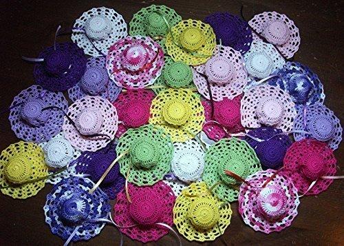 Crociedelizie, Stock 25 bomboniere cappellini ad uncinetto da usare come sacchetti portaconfetti bimbo bimba nascita battesimo segnaposto matrimonio