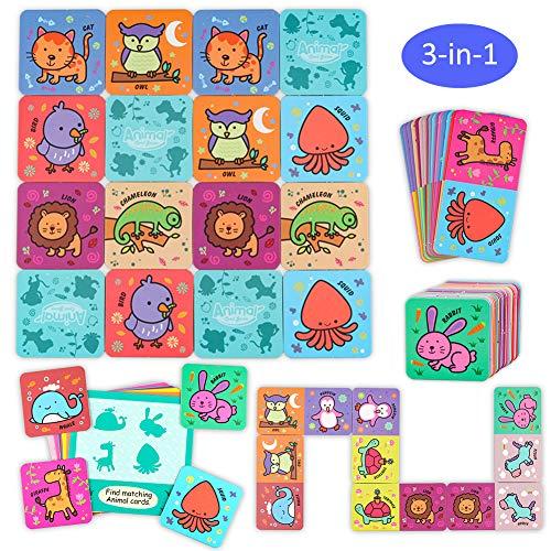 Sunarrive 3-in-1 Tiere Memory Spiel - Domino Kartenspiel - Bingo Kinderspiele - Memorie Pädagogisches Spielzeug für Kleinkind Kinder ab 2 3 4 Jahren - Mein Erstes Memory Spiele