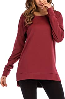 Tunic Tops for Women Long Sleeve Side Split Loose Casual Pullover Solid Top Red X-Large