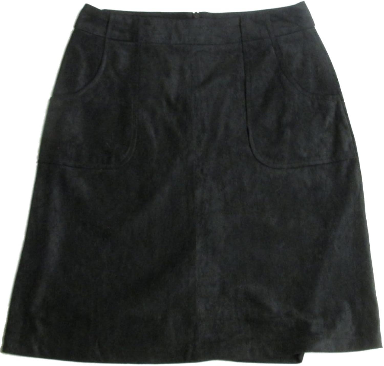 BB Dakota Womens Belfort Faux Suede Skirt Black