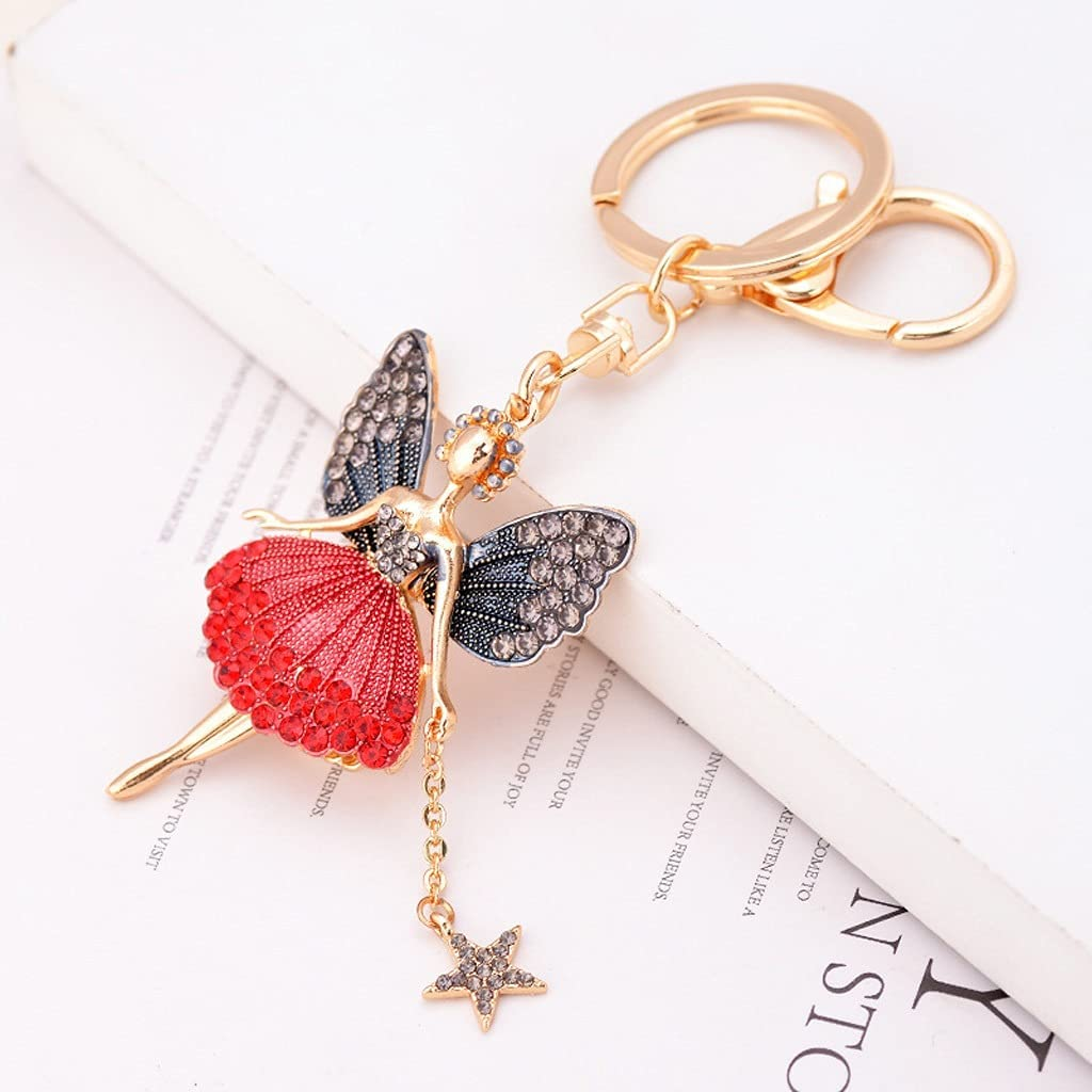 SSMDYLYM Fashion Discount is also underway OFFer Jewelry Angel Dancing Crystal Keychain Exquisit