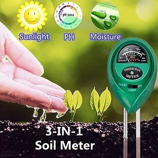 Soil pH Meter, 3-in-1 Soil Test Kit for Moisture, Light & pH/Acidity, Gardening moistufre Meter for Garden, Lawn, Farm, Plants, Indoor & Outdoor Plant Care Soil Tester (No Battery Need & 2019 Update)