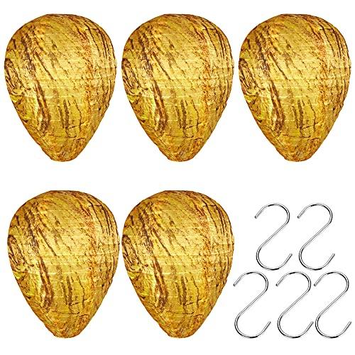 Jooheli 5 Stücke Wespennest Lockvogel, Hängende Künstliche Wespennester, Wespennest Attrappe Wasserfest Ungiftige, Outdoor Simulierte Köder zum Vertreiben der Bienen Insekt (mit 5 * S Haken)