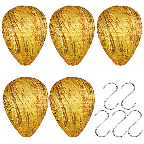 Jooheli Nido de Avispas Señuelo, 5 Piezas Linterna Disuasorio de Avispa y 5 Ganchos en Forma de S, Natural Impermeable Repelente Avispas Exterior, Nido de Avispas para Casa y Jardín Exterior
