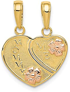 14k Two Tone Yellow Gold Mommy/me Breakable Heart Pendant Charm Necklace Break?apart Love Fine Jewelry Gifts For Women For Her