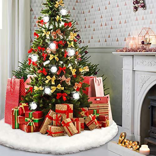 Howaf Addensare Albero di Natale Gonna 120cm nevoso Bianco Albero di Natale Gonna Base Peluche Pannello Esterno Albero di Natale Decorazione Natalizia